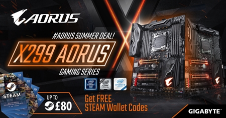 Buy the latest X299 AORUS motherboards and receive up to £80 Free Steam Wallet Codes!